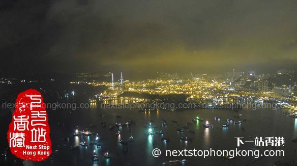從天際100香港觀景台上看避風塘夜景