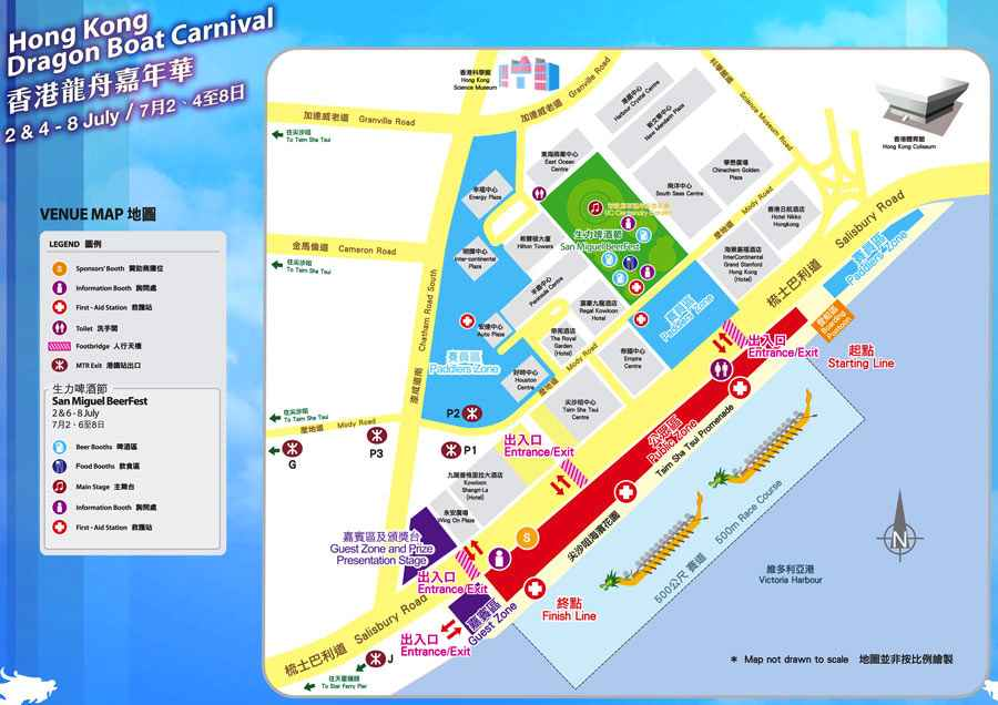 Map of Dragon Boat Carnival