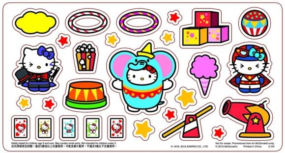 "Hong Kong McDonalds Hello Kitty ""Circus of Life"" Collection - Stickers"
