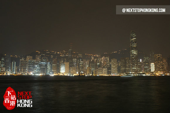 The Sleeping Victoria Harbour in Hong Kong Earth Hour 2013