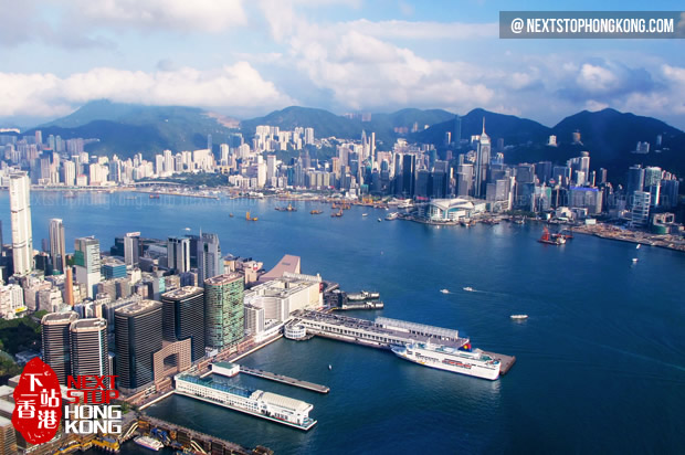 View of Victoria Harbour from Sky100 Observation Deck