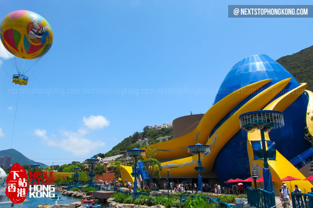 Helium Balloon Flying above Aqua City in Ocean Park
