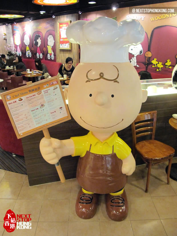 Charlie Brown standing in Charlie Brown Café