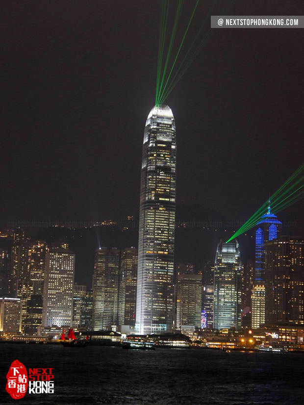 Laser Beams of A Symphony of Lights from IFC Tower