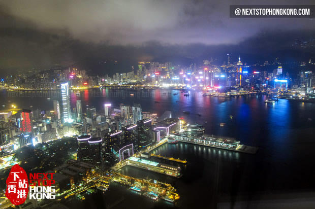 Night View of Victoria Harbour from Sky100 Observation Deck