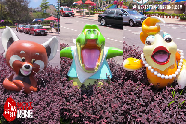 Mascots in front of Ocean Park Entrance