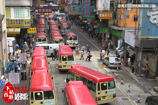 Red Minibuses Lining up