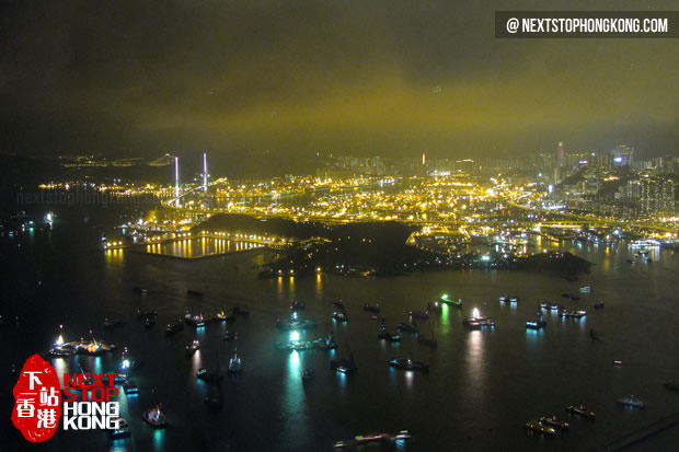 Night View of Typhoon Shelter from Sky100 Hong Kong Observation Deck