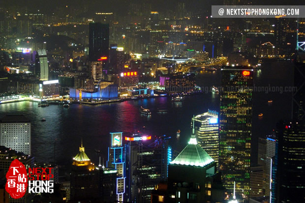 Night View of Victoria Harbour from Sky Terrace 428