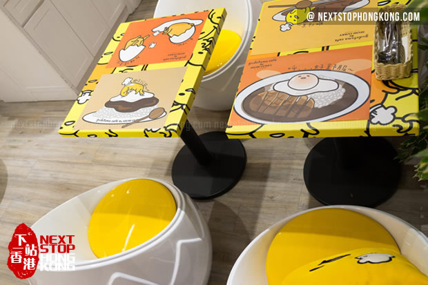 Egg Shell Chairs of Gudetama Café by Izumi Curry