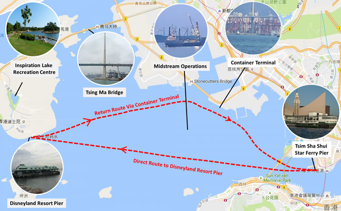 The Route of Star Ferry Harbour Tour