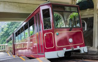 Peak Tram going up to Victoria Peak