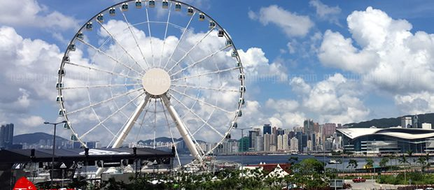 Hong Kong Observation Wheel next to Victoria Harbour