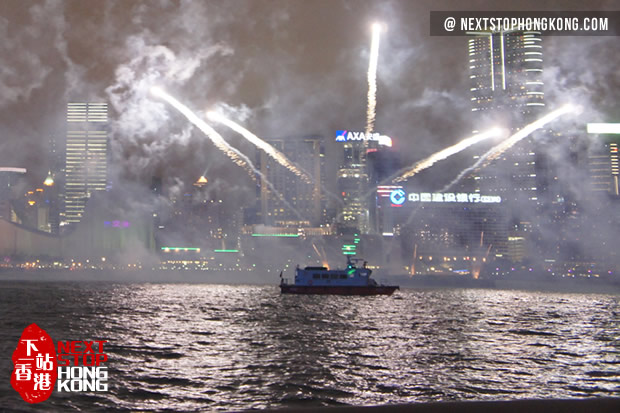 Fireworks shooting from barges on Victoria Harbour