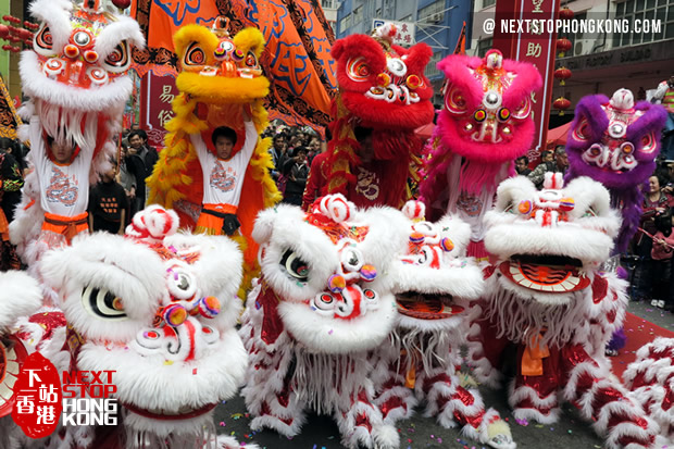 hong kong lion dance celebration